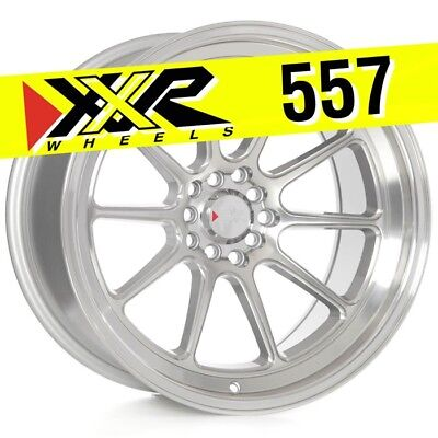 XXR 557 18x10 5-100/5-114.3 +19 Silver/Machined Wheels (Set of 4) Deep - 18x10 Deep Dish
