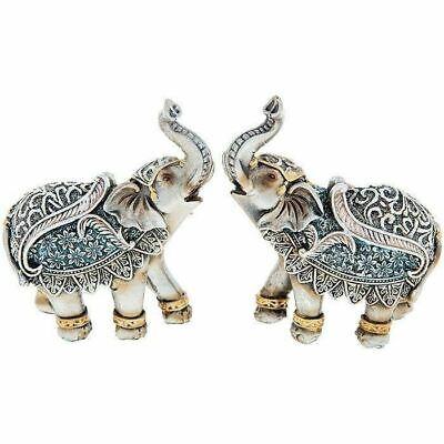 Set of 2 Mini Decorative Steel Blue Elephant Ornament Figure 10 x 9cm Gift Boxed