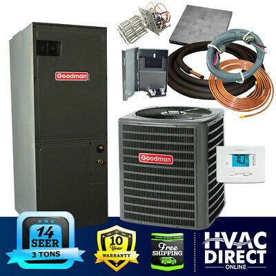 Goodman 3 Ton 14 SEER Heat Pump System | Complete Install Kit, Free Accessories