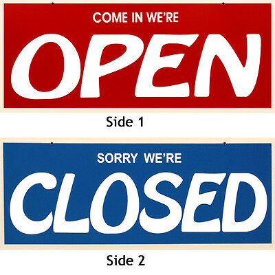 New Double Sided Redblue Open-closed Sign 7 X 19 Incl. Suction Cups Whooks