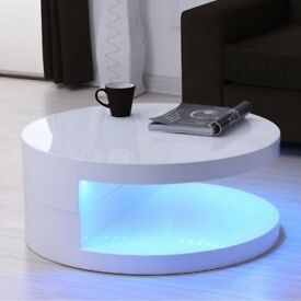 Brand New Tiffany LED Round Top White High Gloss Coffee Table - 80x80cm