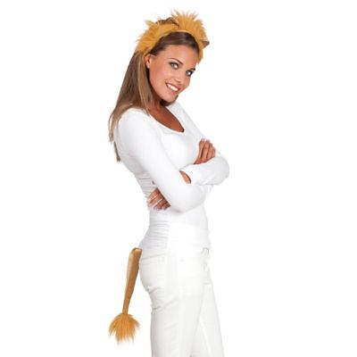 Löwenkostüm Set, Haarreif und Schwanz, Löwinkostüm Karnevalskostüm Fasching