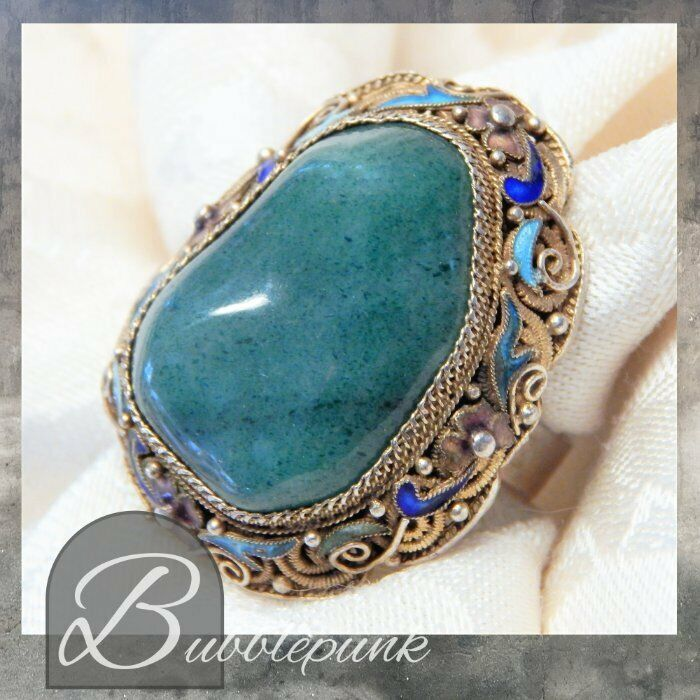 Estate Antique HUGE Chinese Export Enamel Filigree Massive Jade Ring Adjustable