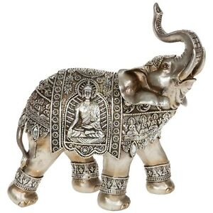 Silver elephant with engraved buddha ornament oriental decor new boxed gift ebay Silver elephant home decor