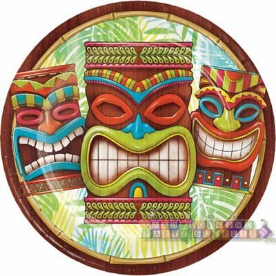 HAWAIIAN LUAU Tiki Time LARGE PAPER PLATES (8) ~ Birthday Party Supplies Dinner](Luau Paper Plates)