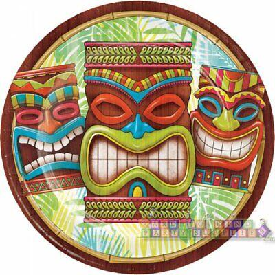 HAWAIIAN LUAU Tiki Time LARGE PAPER PLATES (8) ~ Birthday Party Supplies Dinner - Hawaiian Paper Plates