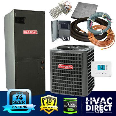 2.5 Ton 14 SEER Goodman Heat Pump System | Complete Install Kit/Free Accessories (Heat Pump Goodman)