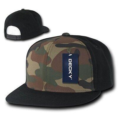 Black & Woodland Camouflage Flat Bill Snapback Camo Baseball Cap Caps Hat Hats Baseball Caps Woodland Camouflage Cap