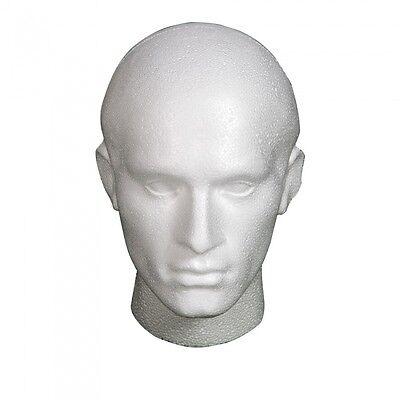 Polystyrene Weiß Männlich Ausstellungskopf Mannequin für Perücke X 6 Weiße Perücke Männlich