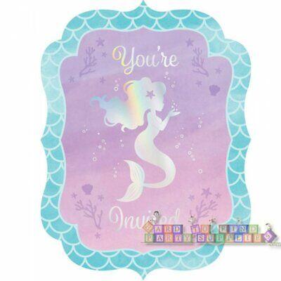 MERMAID SHINE IRIDESCENT INVITATIONS (8) ~ Birthday Party Supplies Invites -