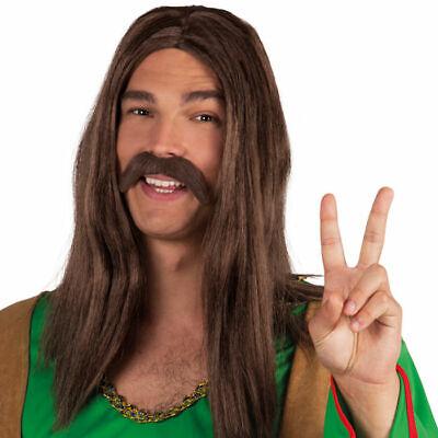 NEU Bart Hippie, dunkelbraun Fakebart Kostümbart Karneval (Braun Bart Kostüm)