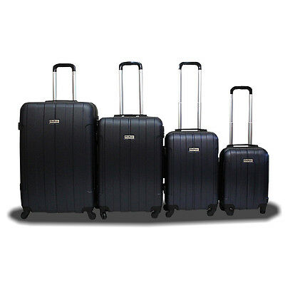 New DeBox 4PCS Luggage Travel Set Bag ABS Trolley Suitcase w/ Lock Dark Blue