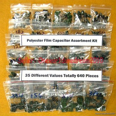 New 640 Pieces 35 Values Polyester Poly Film Capacitors Assortment Kit 2a 100v