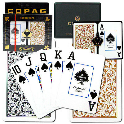 COPAG 1546 Plastic Playing Cards Bridge Size Jumbo Index Gold Black  Free Gift