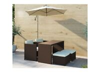 Brown Rattan Garden Furniture - Garden Table and 4 Chairs + Cushions Included