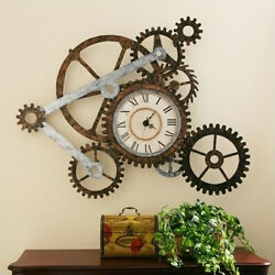 Rustic Wall Clock Gear Gears Decor Metal Art Home Vintage Large Modern Clocks