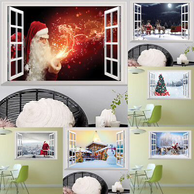 - Christmas Window 3D Vinyl Decal Art Mural Wall Stickers DIY Home Decor Removable