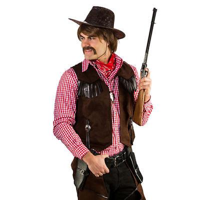 Braune Herren Weste in Wildlederoptik mit Fransen für Cowboy Kostüme ()