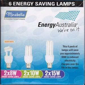 6 x ENERGY SAVING (BULBS)   MIRABELLA   2 X 8W  2 X 10W  2 X 15W Greystanes Parramatta Area Preview