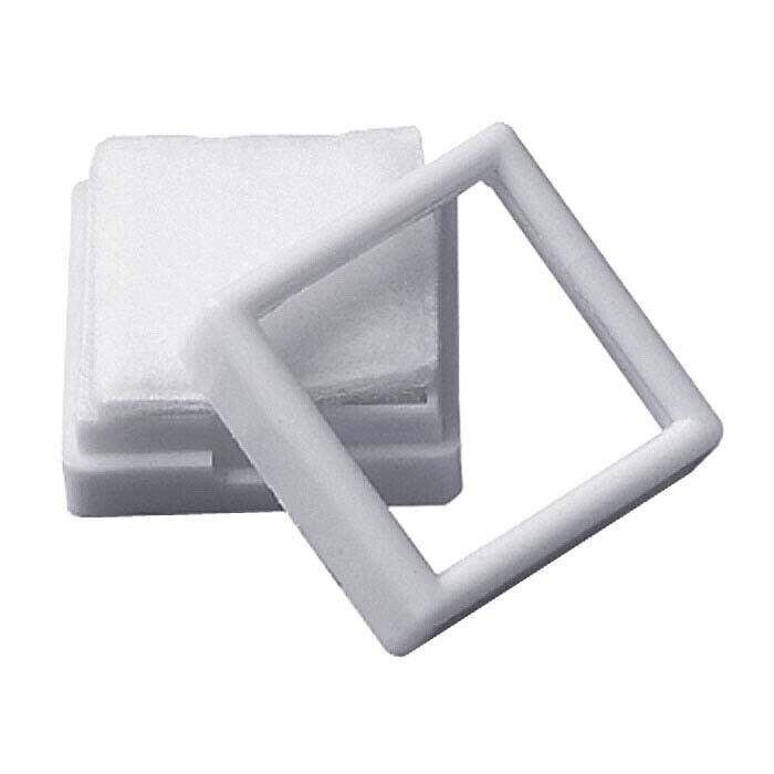 "White Plastic Gem Box with Glass Top 2x2"" Gemstone Display New"