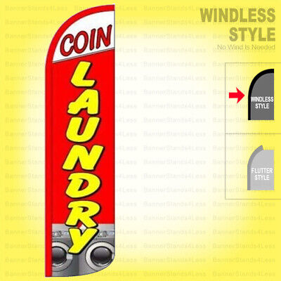 Coin Laundry - Windless Swooper Flag 3x11.5 Ft Tall Laundromat Banner Sign Rq