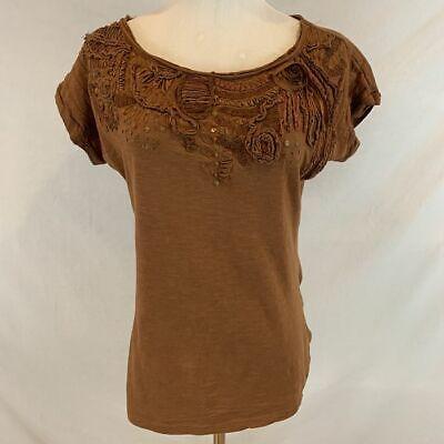 ANTHROPOLOGIE C KEER Rust Brown Top w/ Ribbon Roses Sequins Shirt Sz XS