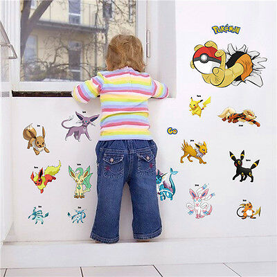 POKEMON ICONIC Wall Decals Room Decorations Pikachu Pokeball Decor Stickers - Pokemon Wall Decor