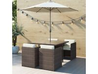 Brown Rattan 6 Piece Garden Furniture Cube Dining Set - Parasol Included