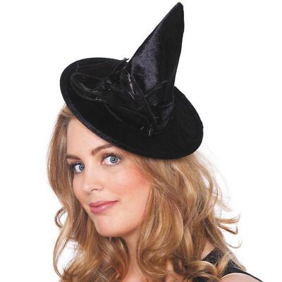 Mini-Hexenhut Leila, schwarz mit Feder    - Federn Hexe Hut Schwarz