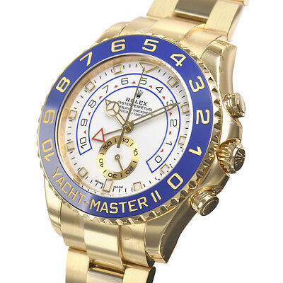 Rolex YACHT-MASTER II 116688 Yellow Gold Blue Ceramic Bezel Gold Hands 44mm