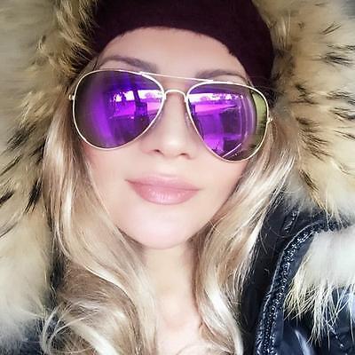 HOT Lavender Purple Mirror Gold Frame Aviator Fashion Blogger Sunglasses 6085 (Lavender Mirror)