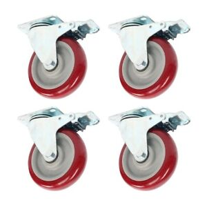 4 Pack 5 Inch 5'' Caster Wheels Swivel Plate On Red Polyurethane Wheels PU