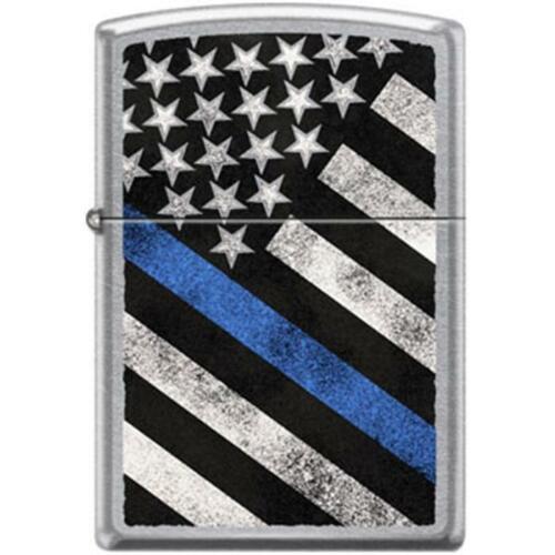 Zippo Lighter - Flag w/ Thin Blue Line Black Matte - 854417