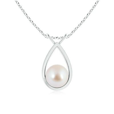 Solitaire 8MM Akoya Cultured Pearl V-Bale Drop Pendant Necklace Sterling -
