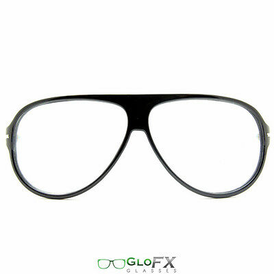 Black Diffraction Glasses - Great w/ Glow sticks LED Gloves Orbit Laser rave