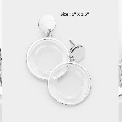 Open Hoop Circle Clear Silver Lucite Drop Post Pierced Disc Earrings Statement  Open Disc Drop