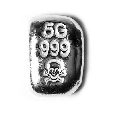 5 Gram Atlantis Skull and Crossbones Hand Poured Silver Bar - Skull Crossbones