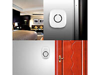 Wireless White Colour Doorbell & Chime Kit, 1xPlug-in Door Chime Receiver, 2xDoorbell Transmitter
