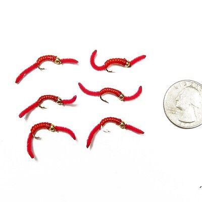 - San Juan Worm Power Bead Trout Nymph Fly Red V-Rib Bead Head 6 Flies Size 12