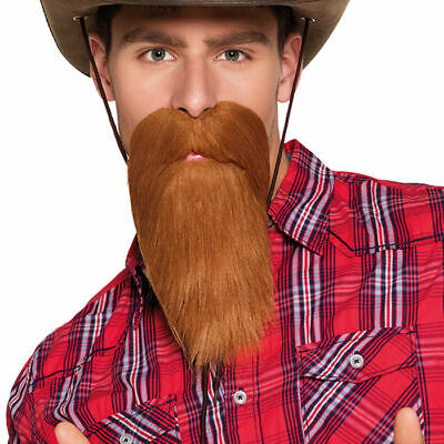Cowboybart braun, Fakebart Kostümbart Karnevalsbart Langhaarbart rötlich (Braun Bart Kostüm)