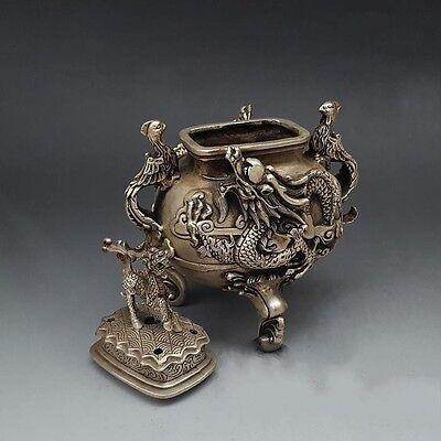 "10/"" Chinese Silver 3 Foot Dragon Kylin Phoenix Bird Handle Incense Burner Censer"