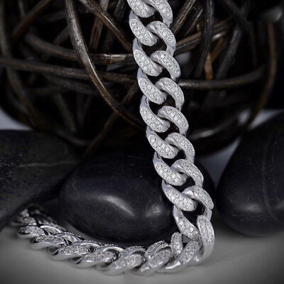 White Gold Electro Plated Cuban Chain Link Micro Pave Lab Diamond Necklace