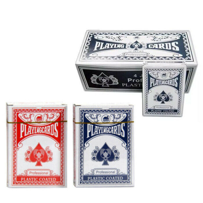 1//2//4//8//12//24 POKER PLAYING CARDS PLASTIC COATED CARD BLUE RED DECKS NOT BICYCLE