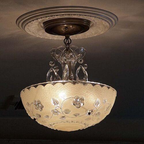 588 Vintage antique Glass Ceiling Light Lamp Fixture Chandelier art deco cream