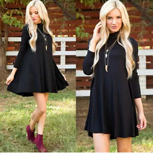Sexy-Womens-Polo-Neck-High-Turtle-Neck-Long-Sleeve-Flared-Swing-Skater-Dress