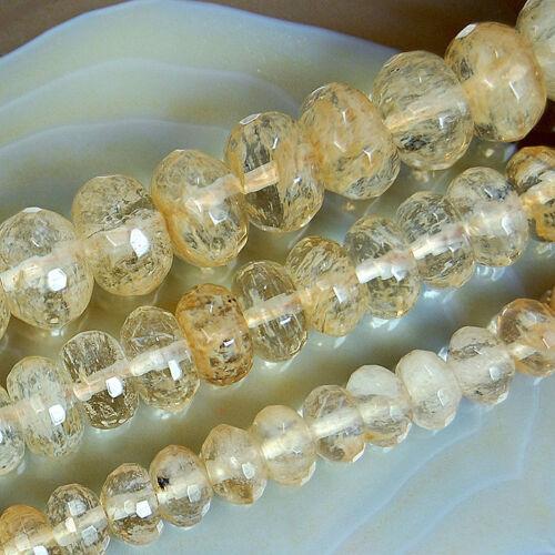 "Faceted Golden Quartz Rondelle Beads 15"" 4x6mm 5x8mm 6x10mm 8x12mm"