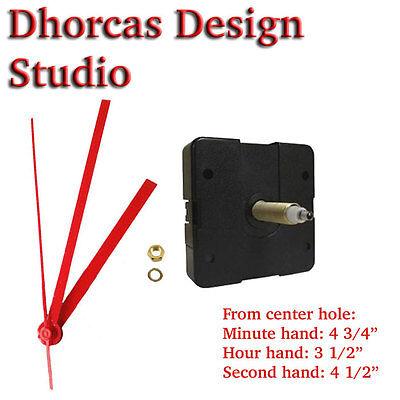 "(#05) Quartz Clock Movement 3/4"" threaded LONG SHAFT quiet motor & red 5"" hand"
