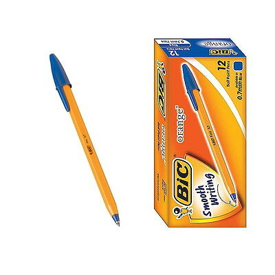 12 PCS BIC Orange Fine 0.7mm Easy Glide Ballpoint Pen 1 Box Blue