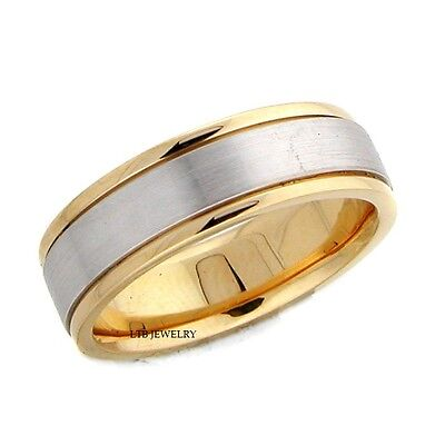 MENS TWO TONE GOLD WEDDING BANDS,6MM 14K SOLID WHITE & YELLOW MENS WEDDING