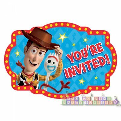 TOY STORY 4 INVITATIONS (8) ~ Birthday Party Supplies Paper Invites Stationery